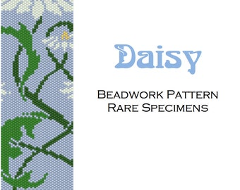 Art Nouveau Daisy Peyote Stitch Beadwork Pattern - Cuff Bracelet - Bookmark - PDF instant download