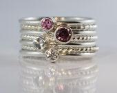 4 Gemstones, Birthstone stacking rings, Mothers and Family rings, 7 skinny rings, Twisted skinny ring Argentium sterling silver, Custom made