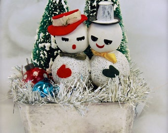 Holiday Tabletop Decor all Vintage Mr&Mrs Snowman in Silverplate with Bottlebrush Trees - Adorable Holiday Home Decor
