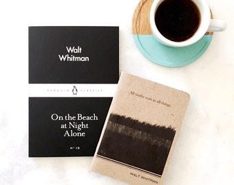Walt Whitman Literary Notebook, Lined Writing Journal, Literary Quotes, Mens Gift for Him, College Student Gift