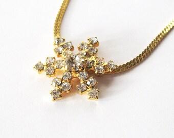 Rhinestone Snowflake Necklace, Gold Plated Herringbone Chain, Prong Set White Stones