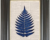 Cobalt blue fern print on dictionary or music COUPON SALE Dictionary art print Wall decor Sheet music Digital art print No. 2086