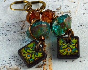 Boho Rustic Art Tile Artisan Turquoise Green Yellow Spring Earrings