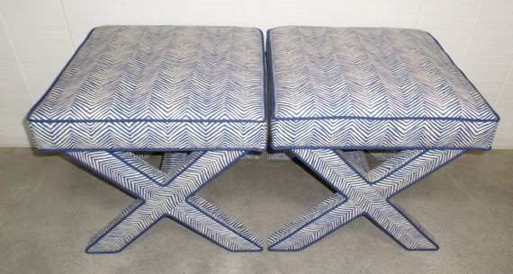 Customize Your Own Pair of X Benches With Contrast Piping