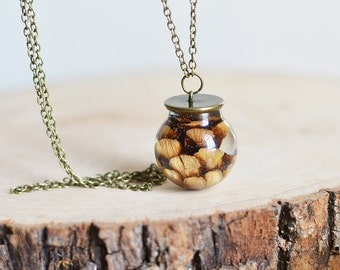 Pinecone necklace resin jewelry, nature necklace, gift under 45, woodland necklace,