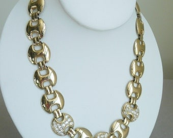 VTG Round Link Gold-Tone Choker Necklace with Pave' Rhinestones 18""