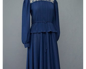 Vintage 70s Dress Navy Blue Dress Edwardian Lace Dress Prairie Dress Pleated High Collar Puff Sleeve Two Piece Midi Dress 1970s Party Dress