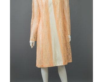 SALE - 60s Cocktail Dress Ivory Cream Satin Dress Peach Lace Duster Jacket 1960s Party Dress Orange Lace Dress 60s Evening Dress M