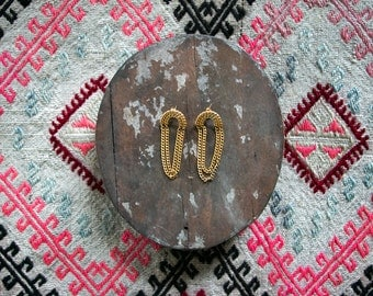 Vintage 80's Rainbow Infinity Gold Metallic Earrings Women's Bling