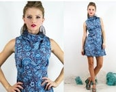 Mod Blue GOGO LUREX Floral ULTRA Mini Dress // Vintage Clothing by TatiTati Style on Etsy