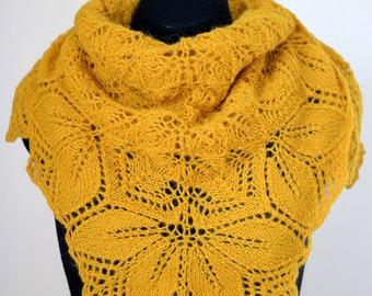 Hand-knitted alpaca shawl with leaf motifs, okra yellow