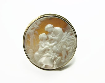 14K Gold Vintage Cameo, G. Noto, Hand Carved, Shell Cameo, High Relief, Estate Jewelry, Antique Cameo, Lovers Cameo, Courting Couple