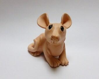 Hairless Rat Fancy Rat Sculpture Pet Rat Ornament Polymer Clay Mouse