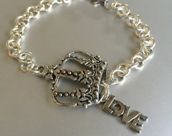 Silver Crown and Love Bracelet
