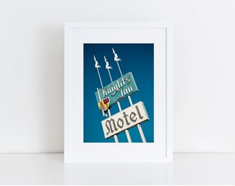 Knights' Inn Motel Sign Photo - Neon Sign Art - Medford Oregon - Fine Art