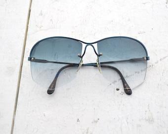 1980s Dark Blue Metal Sunglasses