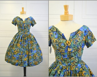 1950s Watercolor Silk Floral Dress