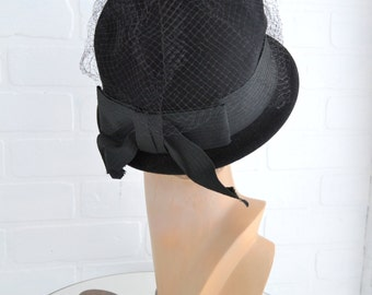 1960s Black Wool Felt Hat with Netting