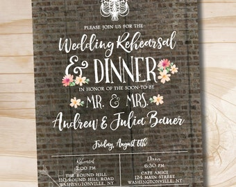 Rustic Brick Chandelier Succulent floral Rehearsal Dinner Invitation - Printable digital file or printed invitations