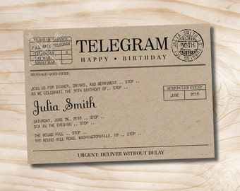 Telegram Birthday Invitation - Printable Invitation