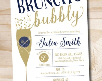 Brunch and Bubbly Navy Gold Bridal Shower Invitation, Confetti Glitter Bridal Shower - Printable digital file or printed invitations