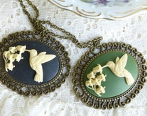 Antique Bronze Hummingbird Pendant Necklace with 24 Inch Chain
