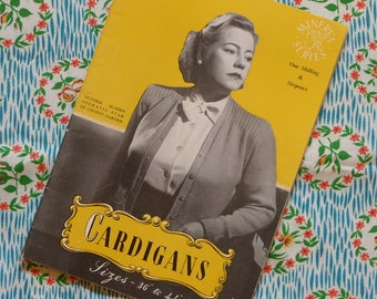 Vintage 1940s Knitting Patterns / Large Sizes Knitting Booklet / Cardigans Sweaters / 36 to 44 Bust Sizes / Plus Size