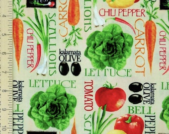 Vegetables fabric, Vegan fabric, cooking chef fabric, 100% cotton for Quilting and general sewing projects.