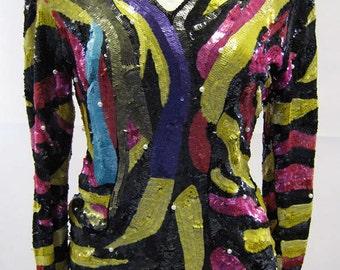 Original Vintage Frank Usher Multi Colour Sequin Top UK Size 10