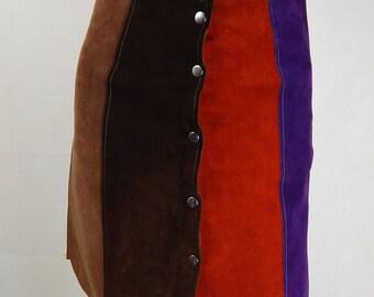 Original Vintage 1960s Suede A Line Skirt UK Size 6/8