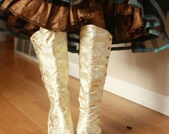 "Medium (14.5"" / 36.8 cm) calf, Ivory and Gold Spats, with Victorian-Style Side Snaps, Ready to ship"