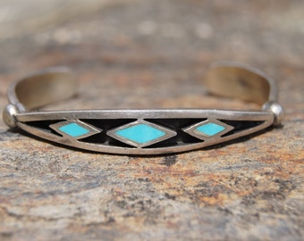 Native American Turquoise Sterling Cuff Bracelet