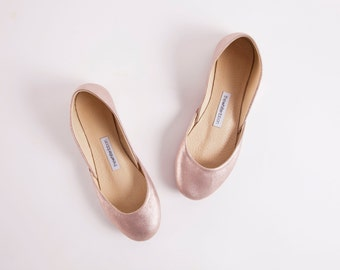 Rose Gold Ballet Flats | Leather Shoes | Elegant Chic Unique Ballerinas | Rose Gold...made to order
