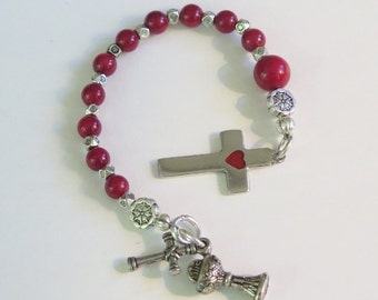 Rosary Prayer Beads - Tenner one 10th of Rosary - Round Red Bamboo Coral Beads - Detailed Cross and spiritual charms