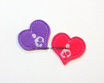 Breastfeeding Symbol Embroidered Appliques-LactationFelties- Nursing Felties Appliques-Hot Pink and Purple-UNCUT (Set of 4)