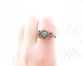 Elvish Nephrite Ring, Copper Green Gemstone Ring, Nephrite Jewelry