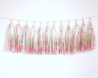 Floral Tassel Garland - Garden Tea Party, Nursery Decor, Valentines Day Party, high chair banner, Baby Shower Decorations