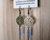 Sapphire Earrings - antique brass, dangle, chain, small gemstones, circle design charms, beads in a row, bohemian, eclectic