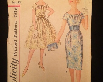 Vintage 1950's Wiggle Dress and Full Skirt Dress Simplicity 2959 Bust 36