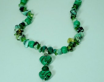 Green Heart Necklace and Earrings