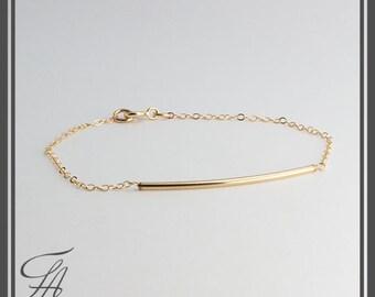 Tube Bracelet,Dainty Bracelet,Handmade Bracelet,Gold Jewelry,Slim Bracelet,14k gold-filled slim curved tube bracelet,Bridesmaid Gift
