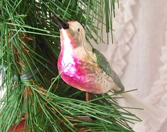 Vintage Clip on Bird Christmas Ornament Spun Glass Tail Glass Bird 1940s Holiday Decor