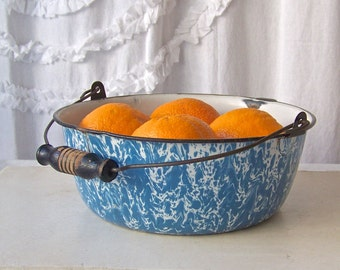 Vintage Enamelware Pot With Handle Preserving Kettle Blue Swirl Enamelware Shabby Cottage Decor Enamel Ware Circa 1930s