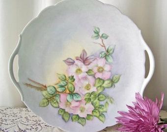 Vintage Porcelain Plate Limoges France Hand Painted Dessert Plate With Handles Soft Pastel Floral Design 1920s
