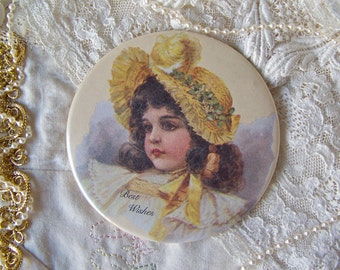 Vintage Pocket Mirror Best Wishes Hand Mirror Purse Mirror Lovely Young Girl 1980s