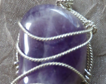 Amethyst Pendant, SS Wire Sculpted