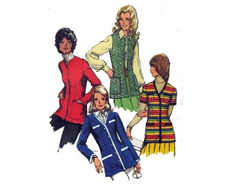 "Vintage 70s Sewing Pattern Fitted Long Jacket or Vest Patch Pockets UNCUT Size 12 Bust 34"" (87 cm) Simplicity 9816 - S"