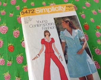 Simplicity Pattern 5472, dress pattern, jacket pattern, size 10 pattern, 70's pettern, 2 piece dress