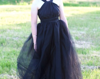 Ballroom Tulle Maxi Skirt // Womens Black Floor Length Tulle Skirt by Petrichor // Choose your Color