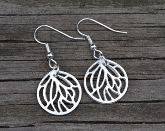 Silver Leaf Hoops . Earrings